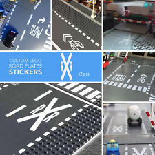 LEGO Road Street Base Plate City Traffic Marking Stickers Decals - RAIL ROAD x2