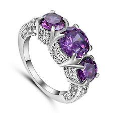 Size 8 Purple Amethyst Engagement Gift Ring Wedding Band white Rhodium Plated