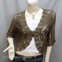 * Crochet Knit Eyelet Scallop Shrug Bolero Cardigan Top Brown S