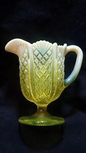 Antique Yellow Opalescent Vaseline Uranium Glass Footed Cream Pitcher