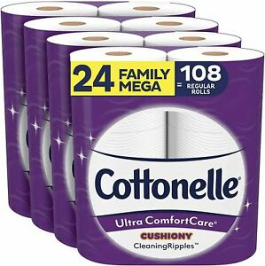 Cottonelle Ultra ComfortCare Toilet Paper with Cushiony CleaningRipples, 24 Fami
