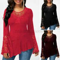 ZANZEA Womens Summer Lace Long Sleeve T Shirts Blouse Casual Loose Tops Pullover