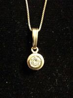 """14K Yellow Gold .30 Ct. DIAMOND SOLITAIRE Pendant With 16"""" 14K Box Chain"""