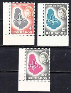 BARBADOS #254-256 MNH 50th ANNIV.  OF BOY SCOUTS OF BARBADOS
