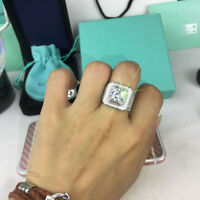 White Gold Iced Out BAND HipHop Engagement MICROPAVE CZ Pinky Men Women Ring