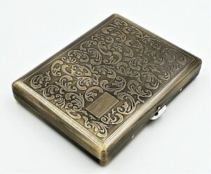 Victorian Style Cigarette Metal Case Double Sided King & 100s Boteh Pattern L_AB