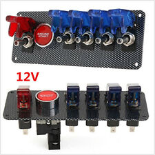 12V Racing Race Car Ignition Switch+4 Blue& 1 Red LED Toggle Switch Button Panel
