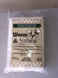 "Warm & Natural Cotton Batting Crib Size 45""X60"" New Sealed"