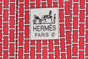 """Authentic Hermes Paris 5471 FA Red Men's Neck Tie W: 3 3/4"""" L: 63"""" """"H Pattern"""""""