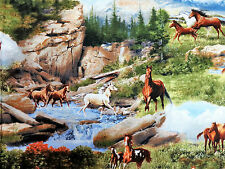 Running Wild Horses Scenic Mountain & Water Quilting Treasures #2851 By the Yard