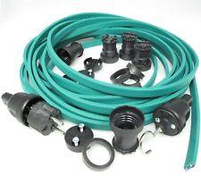 IKu ® Illu Lichterkette E 27  Bausatz 25 Meter 50 Fassungen grünes Kabel