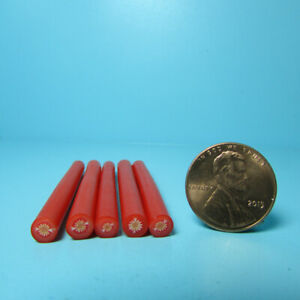 Dollhouse Miniature Red Tomato Polymer Clay Canes - Set of 5