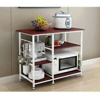 4-Tier Microwave Oven Cart Bakers Rack Kitchen Storage Shelves Stand Metal White