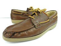 Vintage HUSH PUPPIES Mens 9.5 10 M Leather Comfort Shoes Boat Loafer Oxford USA