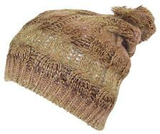 D&Y Adult Variegated Cable Knit Winter Beanie Hat W/Pom Pom, Snow, #860 Beige