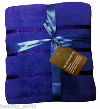 5 PC TOWEL BALE SATIN STRIPE ROYAL BLUE LUXURIOUS 100% EGYPTIAN COTTON 500 GSM