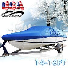 "14-16ft 210D Waterproof Fishing Ski Bass Trailerable Blue Boat Cover 90"" Beam"