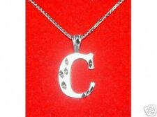 Letter C Sterling Silver 925 Pendant Charm Jewelry Initial Diamond cut COOL New