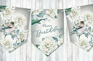Cream Dahlia Floral Party Celebration Bunting - Choose Occasion