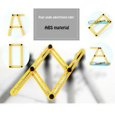 Yellow Stainless Steel ABS Measuring Multi-angle Template Four-sided Ruler Tool.