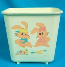 VTG RARE MID-CENTURY Nursery WASTEBASKET TRASH GARBAGE CAN BASKET BUNNY RABBITS