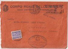 ITALIA 1935 LETTERA CORPO REALE DELLE MINIERE FIRENZE TASSATA A BUCINE AREZZO