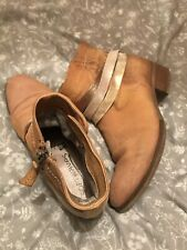 MJUS Camel Suede Ladies Ankle Boots 40 Size UK 7 Softwaves Insole Comfort