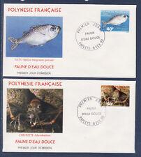 Polynésie   enveloppe  1er jour  faune d' eau douce   1990