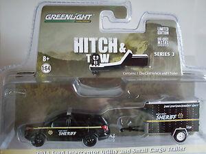 2014 Ford Intercoptor + Cargo Trailer, Greenlight 1:64 lim. Edition, 32030/C