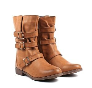 Camel Zipper Open Faux Leather Womens Military Mid Calf Combat Boots Size 7