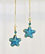 *IAJ* AQUA CLOISSONE STARFISH w/ SWAROVSKI CRYSTAL 14k GOLD VERMEIL Ear Threader