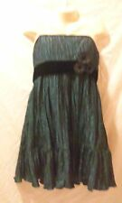 NICOLE MILLER DRESS SHINY TEAL CRINKLE FABRIC STRAPLESS FLOWERS SIZE 16