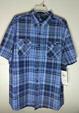 Enyce Men's Button Front Shirt Short Sleeves Size  4XL Aqua/Navy/White