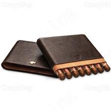 COHIBA Cowhide Leather Cedar Wood Holder 8 Tube Brown Travel Cigar Case Humidor