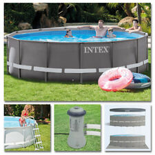 INTEX Komplettset Ultra Frame Pool Ø 427x107cm + Filterpumpe Swimmingpool