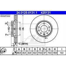 ATE 2x Bremsscheiben belüftet beschichtet 24.0125-0131.1