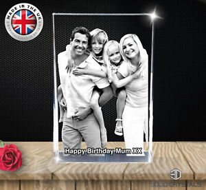 2D Crystal Photo Personalized Picture Engraved Christmas Memorable- Gift Boxed