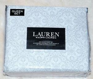 NEW Ralph Lauren Queen Sheet Set Cottage Chic Paisley Platinum Grey & White  4pc