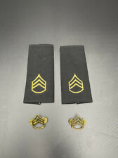 Pair Of US Army STAFF SERGEANT Rank Epaulets and Metall Pin Badge