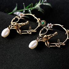 Retro Elegant Women Earring Pearl Flower Stereoscopic Bird Dangle Drop Earring