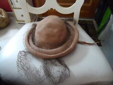 Ladies vintage brown hat with net by Suzy Lee for Joseph Horne Co.