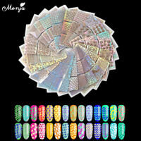 24 x Nail Art Vinyl Stencil Guide Sticker Manicure Hollow DIY French Tips UV Gel