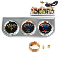 Racing Triple Gauge Kit Water Temp Oil Pressure Voltmeter Truck Parts Automotive
