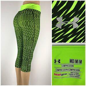 Under Armour Women Medium Compression Pants Capri UA HeatGear Stripe 1258599 EUC