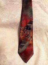 Disney Mickey Mouse Guitar Piano Musical Notes Gold Grey Rust The Tie Works