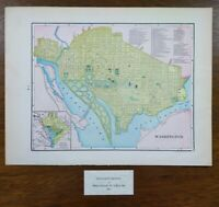 "Vintage 1902 WASHINGTON DC Map 14""x11"" ~ Old Antique Original GEORGETOWN"