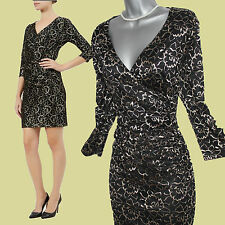 KALIKO Black Gold Two Tone Floral Lace 3/4 Sleeve Cocktail Shift Dress UK 12 £99