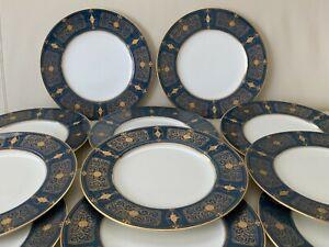 Royal Worcester 1920's English Porcelain 11 Blue & Gold Encrusted Dinner Plates