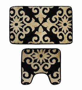 Microfiber 2 Pieces Bathroom Bath Rug Pedestal Mat Set Black Beige Floral Patter