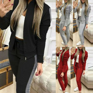2PCS Womens Tracksuit Zipper Coats Jogging Pants Set Sport Casual Lounge Wear UK